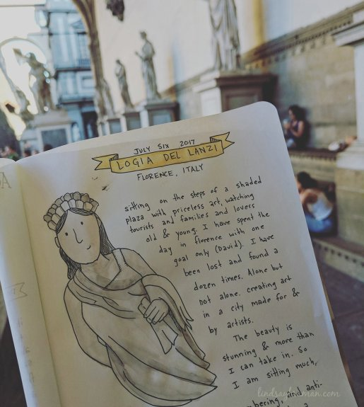 doodle travel journal entries during italy vacation