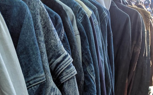 Denim for miles. Old denim and leather jackets are common in many flea markets.