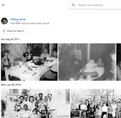Using google photos facial recognition to ID old family photographs