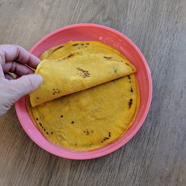 Make sure each felt tortilla is completely saturated