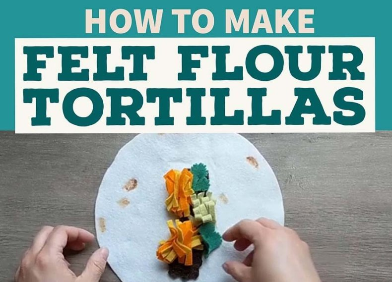 Easy DIY instructions for making flour tortillas for a felt burrito play food set