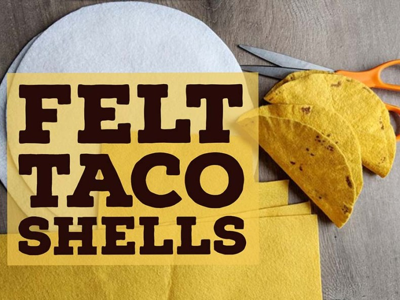DIY instructions for making realistic felt taco shells for pretend food play