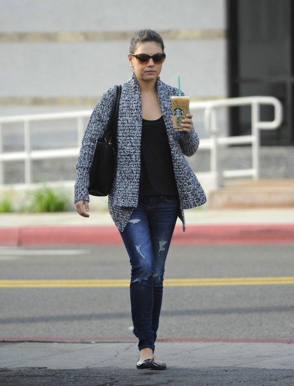 Mila Kunis In Jeans Starbucks Hollywood - Hawtcelebs