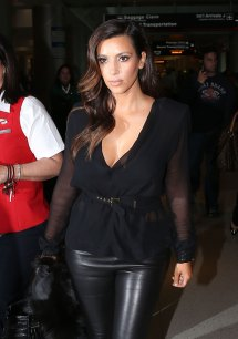 Kim Kardashian In Leather Pants Arrives Miami Airport