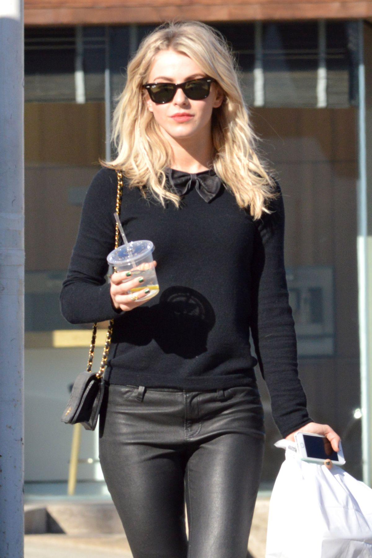 JULIANNE HOUGH in Leather Pants Out in Los Angeles