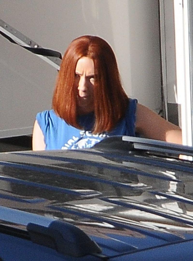 SCARLETT JOHANSSON On The Set Of Captain America The