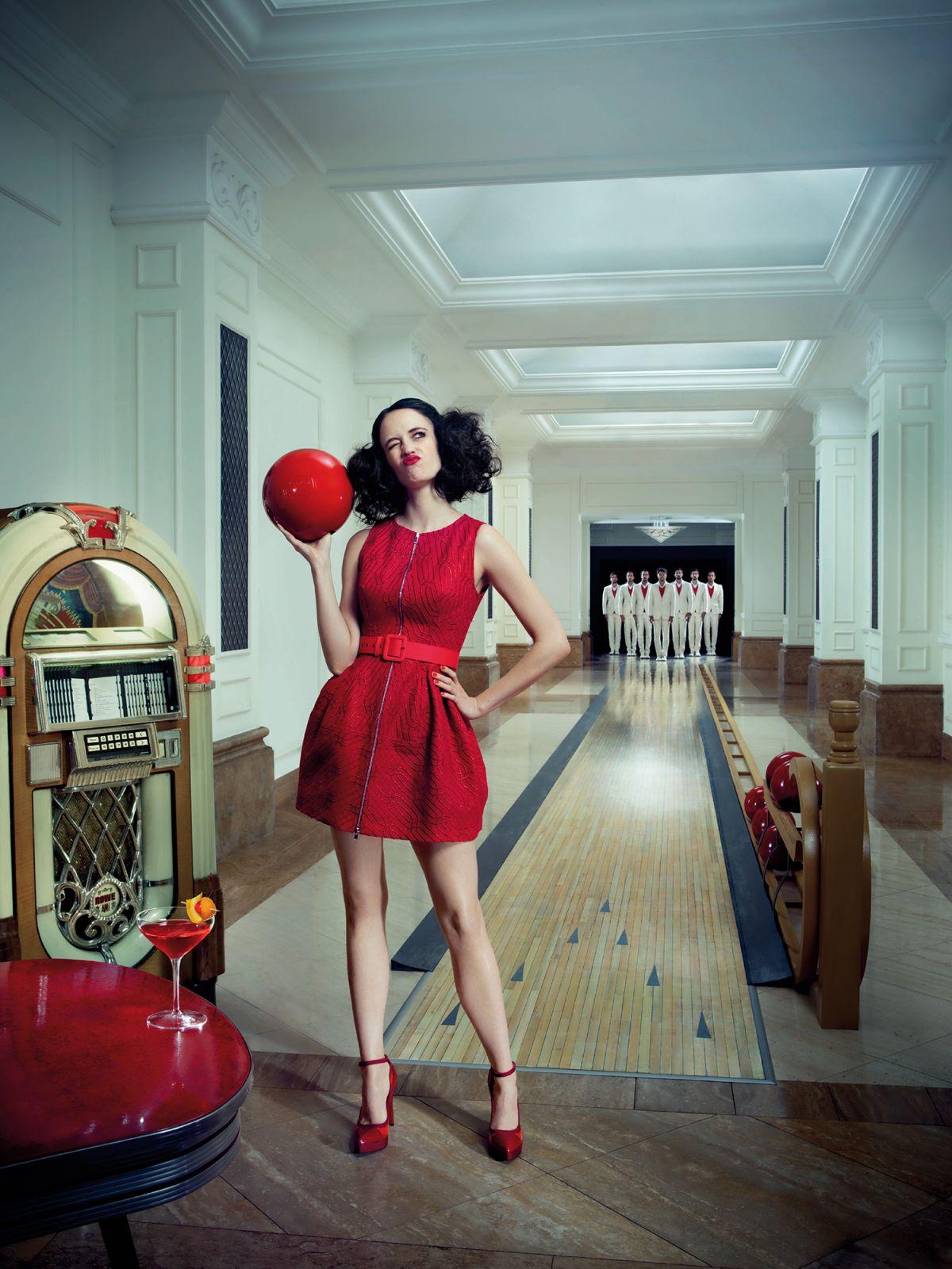 Red Dress Girl Wallpaper Eva Green 2015 Campari Calendar