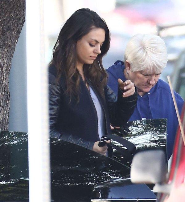 Mila Kunis And Ashton Kutcher Visiting Family In Hollywood
