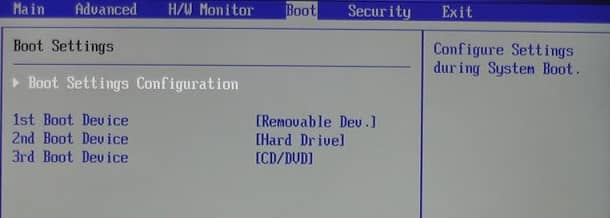 select first boot device priority in bios