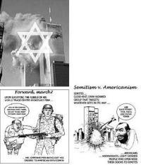 """קריקטורות שפורסמו באתר ה""""ליגה נגד השמצה"""", מלמעלה למטה: היהודים עומדים מאחורי פיצוץ התאומים; היהודים מואשמים בהחדרת האנטישמיות לארה""""ב; למטה מימין: היהודים משפיעים על פעולות הממשל האמריקאי"""