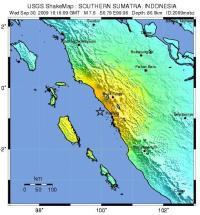 מוקד רעידת האדמה הבוקר (30 בספטמבר) בים ליד האי סומטרה. צילום: הסקר הגיאולוגי האמריקני