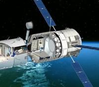 חתך המציג את החללית ז'ול ורן כשהיא מחוברת לאחת מיחידות העבודה של תחנת החלל הבינלאומית. איור: ESA-D.Ducros.