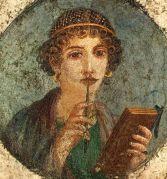 אישה קוראת ספר בדמות קודקס. ציור קיר מפומפיי, לפני שנת 70 לספירה
