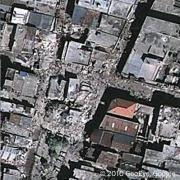 מרכז העיר פורט או פרינס לאחר הרעש, ינואר 2010. צילום: הלוויין GEOEYE בשירות גוגל ארץ