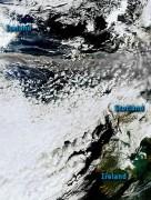 האפר הוולקני מהתפרצות הר הגעש מתפשט מעל בריטניה, 15/4/2010. צילום: הלווין ENVISAT של סוכנות החלל האירופית
