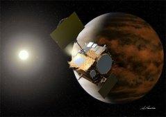 החללית היפנית אקוצוקי (Akatsuki), שנועדה לחקור את כוכב הלכת נוגה. שוגרה ב-21 במאי 2010. איור: סוכנות החלל היפנית JAXA