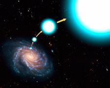 """תפיסת אמן של הכוכב המאיץ HE 0437-5439. הכוכב הכחול החם נזרק משביל החלב במהירות שהספיק לו להימלט מכבלי המשיכה של הגלקסיה. הוא כעת טס דרך השוליים החיצוניים של שביל החלב במהירות של 2.5 מיליון קמ""""ש הרחק מעל דיסקת הגלקסיה, כ-200 אלף שנות אור מן המרכז. הוא מיועד לנוע כעת בחלל הבינגלקטי. איור: נאס""""א, סוכנות החלל האירופית וג. בייקון מהמכון המדעי של טלסקופ החלל."""