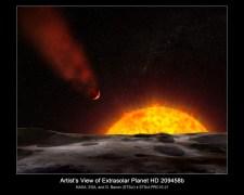 כוכב הלכת HD 209458b מאבד את האטמוספירה שלו לחלל. איור: המרכז המדעי של טלסקופ החלל