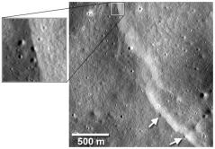 """מדרונות תנוך במכתש Mandel'shtam על הירח. המדרונות קטעו מכתשי פגיעה קטנים. צילום: החללית LRO של נאס""""א"""