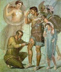 פרסקו מפומפאי מן המאה הראשונה (כיום במוזיאון הלאומי של נאפולי) מראה את לאריקס שולף חץ מרגלו של אאנס כאשר בנו של אאנס – ללולוס אסקאניוס – בוכה ליד אביו. משמאל – אמו של אאנס – האלה וונוס