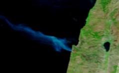"""השריפה בכרמל כפי שצולמה ע""""י החללית טרה של נאס""""א, 3/12/2010"""