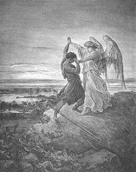 יעקב נאבק עם המלאך. ציור: גוסטב דורה