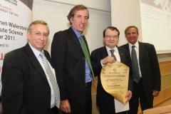 בצילום מימין לשמאל: דיוויד וולרשטין פרופ' לוק מונטנייה, כריסטוף ביגו – שגריר צרפת בישראל ופרופ' בנימין שרדני. צילום: יוני רייף