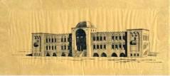 """אלכסנדר ברוולד, שרטוט פנים אולם הכניסה של הטכניקום, 3191-2191 (דיו על נייר פרגמנט, אוסף הארכיון ההיסטורי ע""""ש יהושע נסיהו בספריה המרכזית ע""""ש אלישר בטכניון צלם לא ידוע"""