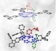 מלכודת ניקוטין פולימרית מורכבת מנגזרת פורפירין (שחור) שבה מצבתי אמיד (ירוק) מחוברים לאטום אבץ (סגול) המצוי במרכזה של טבעת (כחול). מולקולת הניקוטין צבועה באדום. התמונה התחתונה היא הדמיה תלת-מימדית של הפולימר.