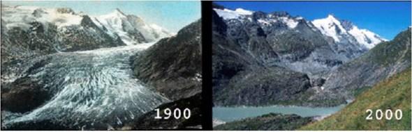 קרחון פסטרץ באלפים האוסטריים בהפרש של מאה שנה. מים במקום קרח.