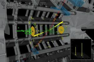 תוצר התנגשות בניסוי האטלס שעשוי להיות חלקיק היגס. איור: ניסוי אטלס ב-CERN; דצמבר 2012
