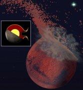 תפיסת אמן של מאדים המוקדם מופגז על ידי אסטרואיד גדול יותר מטקסס. המדענים מאמינים כי הפגיעה גרמה להתכת קרום מאדים בחצי הכדור הצפני, והעיפה רסיסים אל החלל, ושלחה גלי הלם דרך הגלעין המותך של כוכב הלכת. הדבר מסביר מדוע קרום מאדים דק יותר בחצי הכדור הצפוני. צילום: ג'ף אנדרס-האנה ופרנסיס נימו.