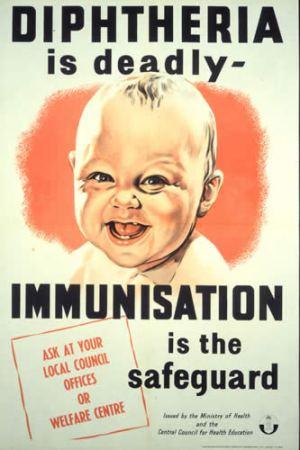 פוסטר הקורא לחסן תינוקות מפני דיפטריה. מתוך ויקימדיה