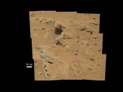 """בתמונה: רכב קיוריוסיטי של נאס""""א גילה עדויות לערוץ נחל שזרם על מאדים בכמה אתרים, לרבות הופעת הסלעים המתוארת בתמונה זו, שהמדענים כינה בשם 'הוטה' על שם אגם הוטה בטריטוריה הצפון מערבית של קנדה. צילום:: NASA/JPL-Caltech/MSSS"""