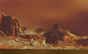 """פני השטח של טיטאן. התמונה מורכבת מנתונים ששודרו על ידי החללית הויגנס שנחתה על פניו ב-2004. איור: נאס""""א וסוכנות החלל האירופית"""