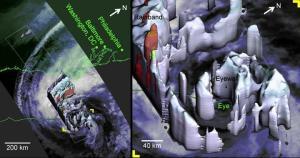 """הדמיות לווין תלת ממדיות של הסופה סנדי. צילום: נאס""""א"""