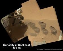"""בתמונה: סדרת חפירות בשטח קטן במאדים שזכה לכינוי """"קן הסלעים"""" (Rocknest). החפירות נעשו באמצעות מכשיר החפירה של קיוריוסיטי שאסף דוגמאות לבדיקה בתוך הרכב במתקן SAM, המיועד לחיפוש חתימות של מולקולות אורגניות - אבני הבניין של החיים. הפסיפס הצבעוני חובר יחד מתמונות ברזולוציה גבוהה שצולמו בימים 74 ו-93 למשימה. צילום: NASA / JPL-Caltech / MSSS/Ken Kremer / Marco Di Lorenzo"""