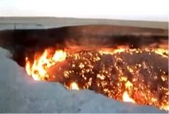 צילום מסך מתוך סרט המופץ ביוטיוב שאמור לכאורה לתאר את המכתש שנוצר מהמטאוריט שפגע ב-15 בפברואר 2013 ברוסיה