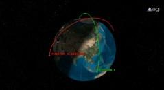 הדמיית מסלולי הלווין הרוסי ורסיס החלל הסיני כפי שעשתה חברת AGI, ינואר 2013