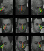 חיזוי כיוון המבט: תוצאות האלגוריתם (באדום), לעומת תוצאות של שני נבדקים (בירוק). תמונות הפנים (מלמעלה למטה) הן של פרופ' שמעון אולמן, דניאל הררי, ונמרוד דורפמן