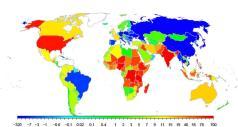 """השינויים הצפויים באוכלוסייה מעתה ועד 2100 מוצגים באיור. הגידול הרב ביותר הצפוי הוא בניגריה, שלאוכלוסייתה יתווספו 730 מיליון אנשים והיא תגיע ל־914 מיליון בני אדם בשנת 2100 לעומת 184 מיליון כיום. שמונה מתוך עשר המדינות שירשמו את העליה החדה ביותר באוכלוסייתן נמצאות באפריקה. השתיים היחידות מחוץ לאפריקה שיגדלו בשיעור מהיר יחסית הן הודו במקום השני וארה""""ב במקום השמיני עם גידול צפוי של 146 מיליון תושבים, או 46 אחוזים, מ-316 מיליון כיום ל-462 מיליון בשנת 2100. הירידה הגדולה ביותר הצפויה היא בסין, שבה יהיו בשנת 2100 כ־300 מיליון תושבים: אוכלוסיית סין מונה כיום 1.4 מיליארדים וצפויה למנות 1.1 מיליארדים בשנת 2100. (קרדיט: מרכז UW לסטטיסטיקה ומדעי החברה)"""