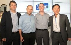 """בתמונה המצ""""ב: שגריר דרום קוריאה, קים איל-סו; מנהל מדיניות ב-Google ישראל, דורון אבני; שר הכלכלה, ח""""כ נפתלי בנט; ומנכ""""ל Google ישראל, מאיר ברנד. צילום: ניב קנטור."""