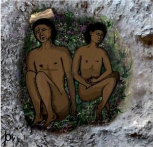 ציור מהתקופה הנטופית בבמערת רקפת בכרמל. צילום: אוניברסיטת חיפה. מתוך מחקר בראשות פרופ' דני נדל שפורסם ב-PNAS, ב-4 ביולי 2013
