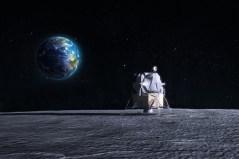 הדמיה ברזולוציה גבוהה של נחתת אפולו על הירח. איור: shutterstock