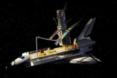 דגם של טלסקופ החלל האבל על סיפון המטען של מעבורת חלל, כפי שמוצג במרכז החלל קנדי בפלורידה. צילום: shutterstock