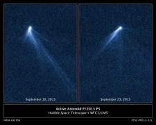 """אסטרואיד שנראה כמו ממטרה עם שישה זנבות שביטים. צילום. נאס""""א"""