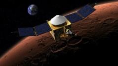 """הידלדלות האטמוספרה הפכה את מאדים הרטוב למדבר. הדמיה של החללית MAVEN בשמי כוכב הלכת. צילום: נאס""""א"""