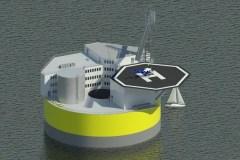הדמיה זו מראה תצורה אפשרית של תחנת כוח השוכנת על הים ומבוססת על עבודת תכנון של ג'אקובו בונג'ורנו וחוקרים נוספים מהמחלקה למדעי והנדסת גרעין ב-MIT. כמו אסדות קידוח נפט, המבנה יכלול איזור מגורים ומנחת מסוקים לתחבורה אל האתר וממנו. הדמיה, ג'ק ג'ורביץ, MIT-NSE