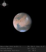 """מאדים, כפי שצולם ב-6 במארס 2014 ע""""י האסטרונום החובב מאוסטרליה אנטוני וסלי באמצעות טלסקופ 16 אינטש."""