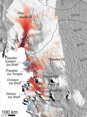 מפת תקריב של האיזור: אדום מציין איזורים שבהם זרימת הקרח הואצה ב-40 השנים האחרונות. איור: Eric Rignot